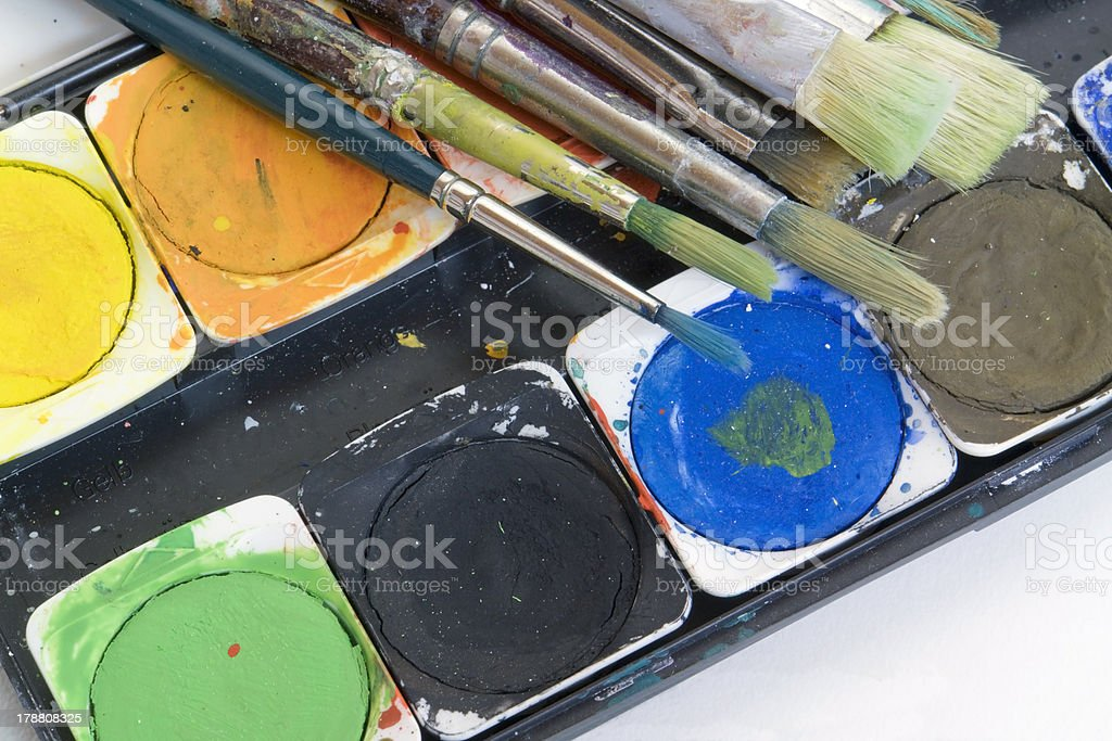 watercolor box and brushes royalty-free stock photo