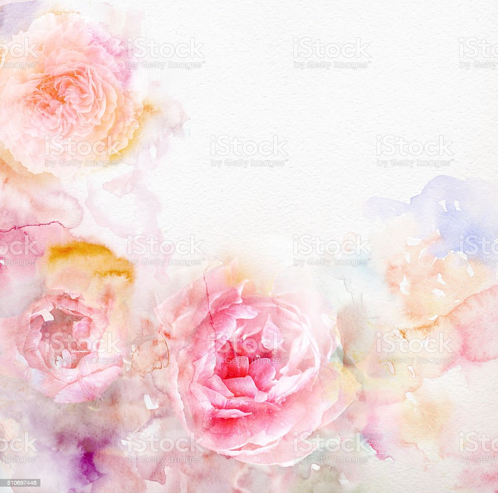Watercolor card with beautiful flowers stock photo