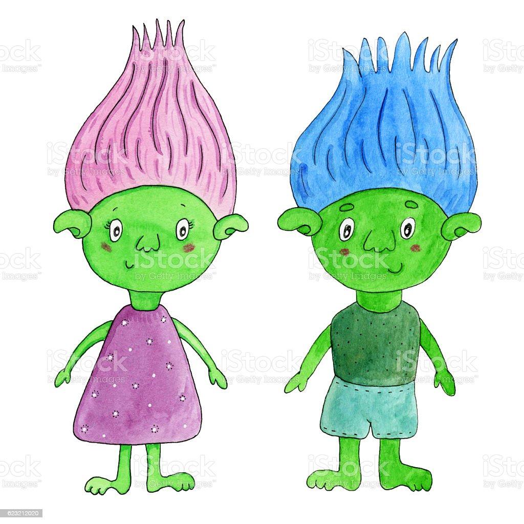 Watercolor cartoon green trolls - girl and boy. stock photo