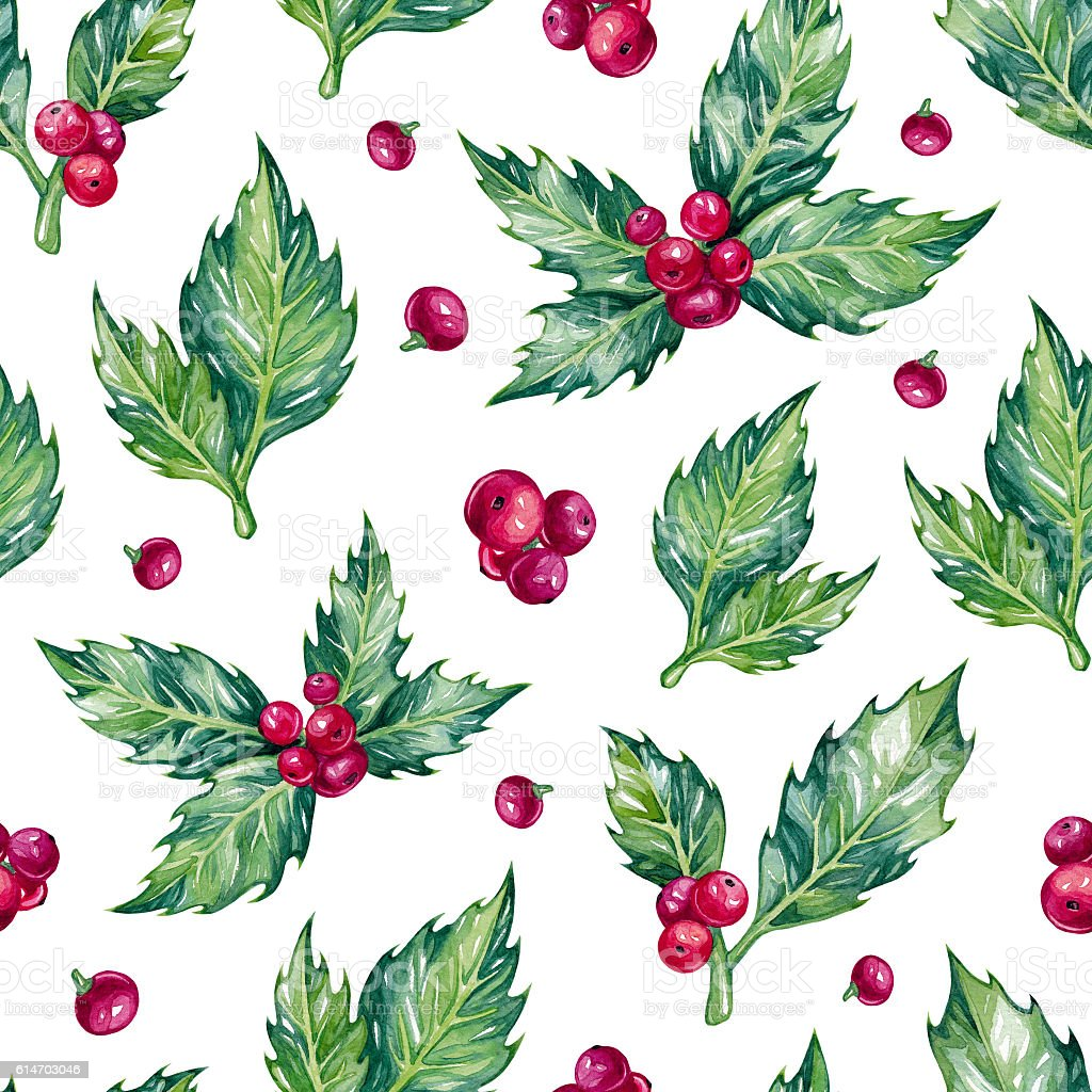 Watercolor christmas seamless pattern. stock photo