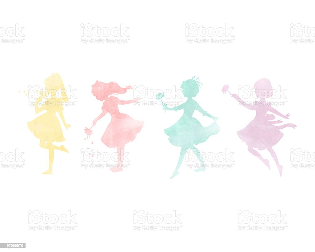 Watercolor dancing Fairy Girls with flowers Illustration Poster stock photo