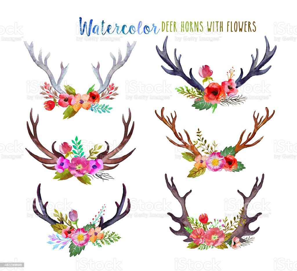 Watercolor deer horns stock photo
