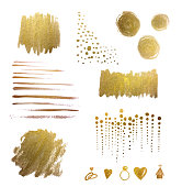 Watercolor Design Elements and Backgrounds, Gold, Hand-painted, Metallic, Watercolor Brush Strokes