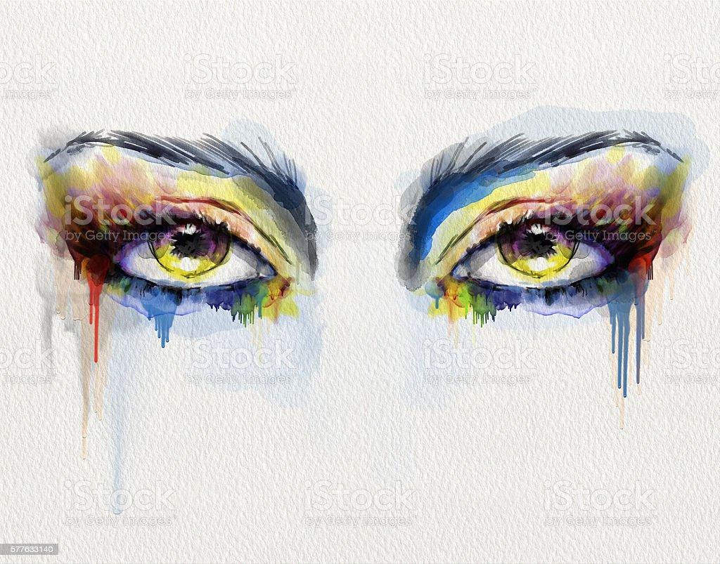 Watercolor Eyes stock photo