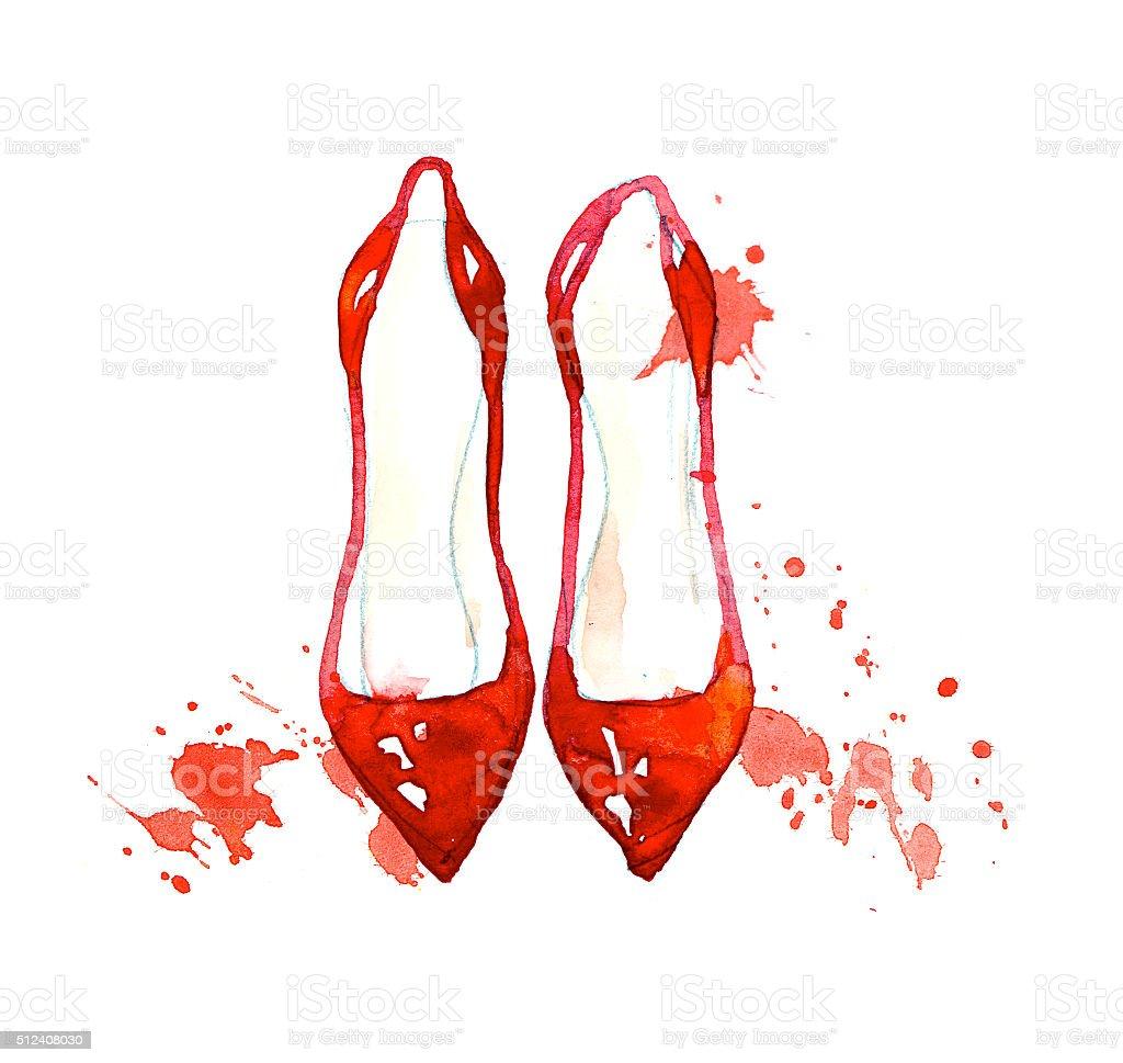 watercolor fashion shoes illustration. elegant woman footwear. stock photo