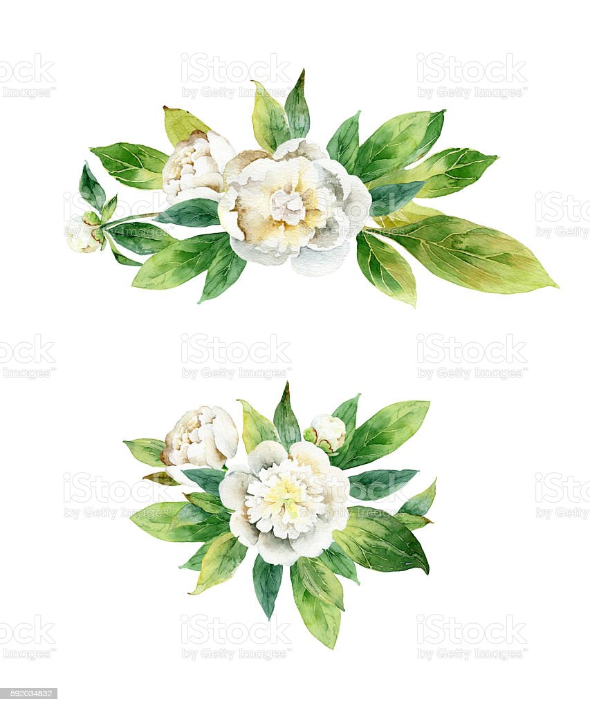 Watercolor floral boutonnieres with white peonies and green leaves stock photo