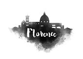 Watercolor Florence City Skyline