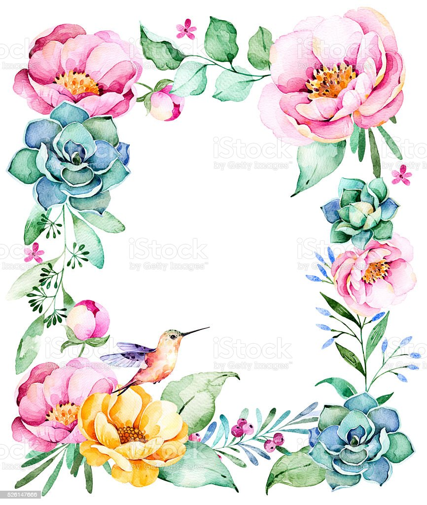 Watercolor frame border with roses,foliage,succulent plant stock photo