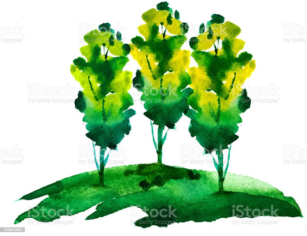 Watercolor green tree stock photo