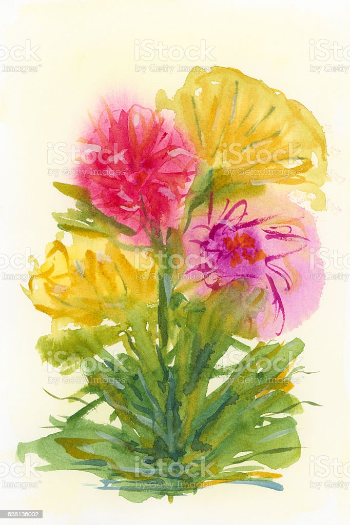 Watercolor hand drawn bunch of flowers stock photo