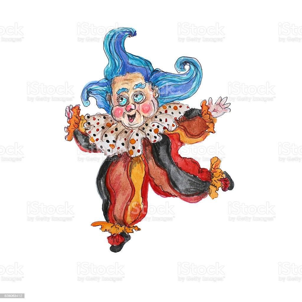 Watercolor hand drawn  isolated clown on white stock photo