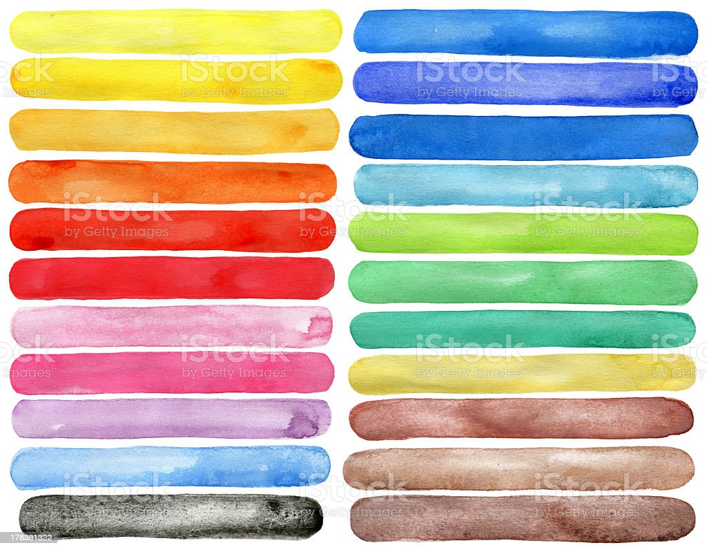 Watercolor hand painted brush strokes royalty-free stock photo