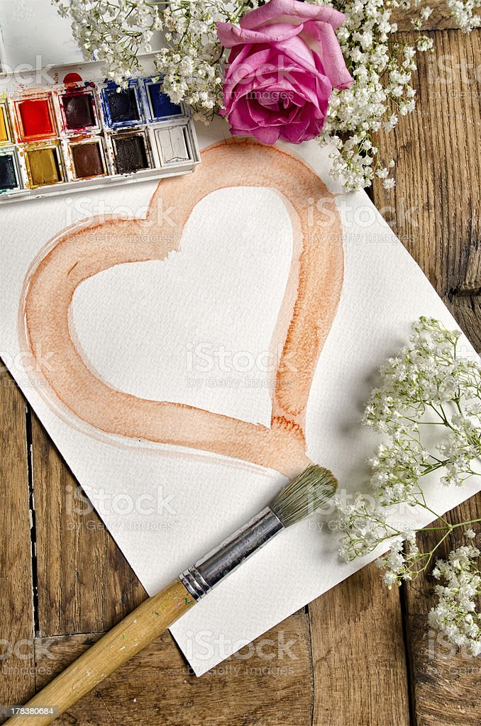 watercolor heart with palette and brush royalty-free stock photo