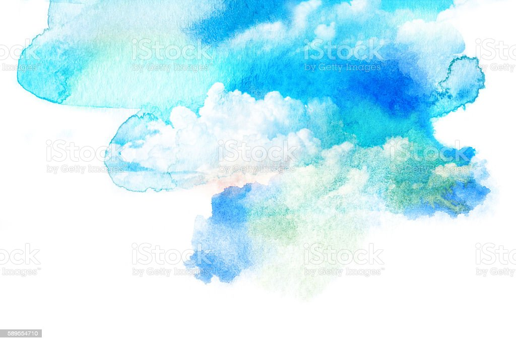Watercolor illustration of sky with cloud. stock photo