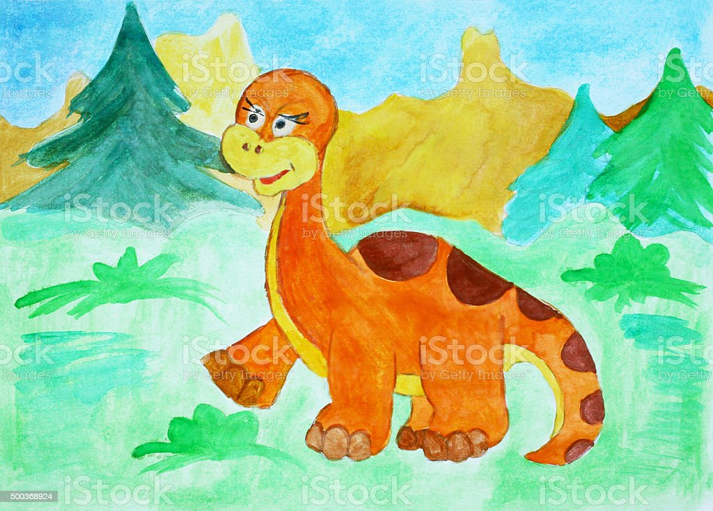 Watercolor illustration with the dinosaur. stock photo