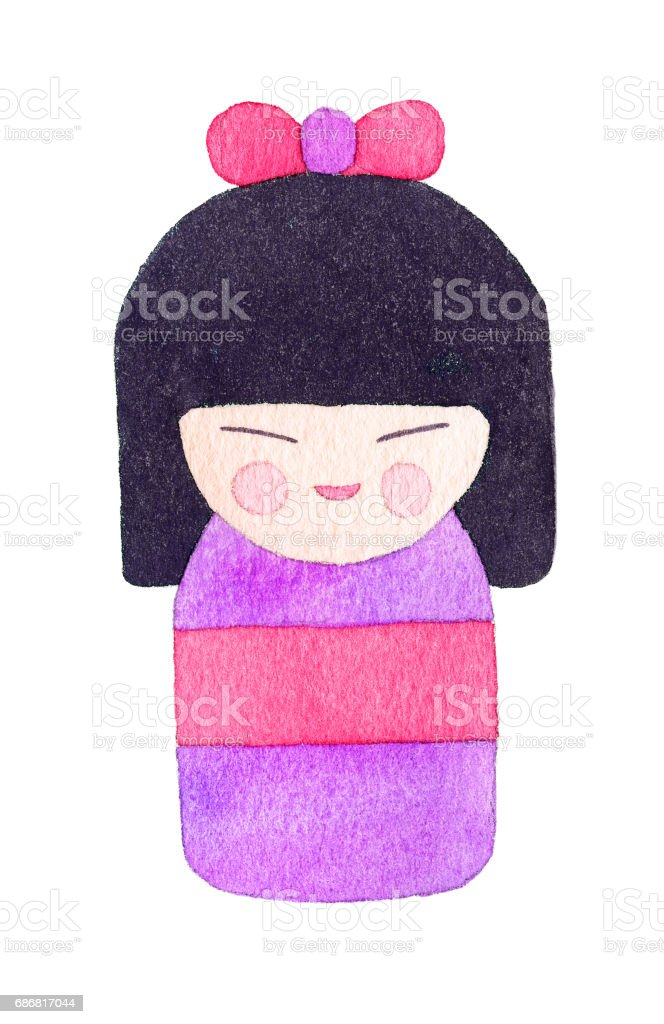 Watercolor kokeshi doll stock photo