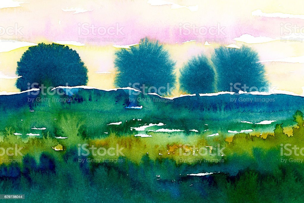 watercolor landscape painting with trees stock photo