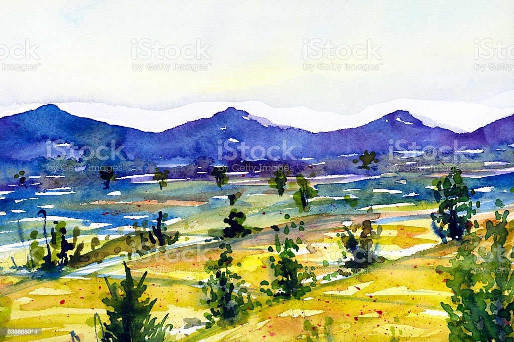Watercolor landscape painting yellow field with mountain stock photo