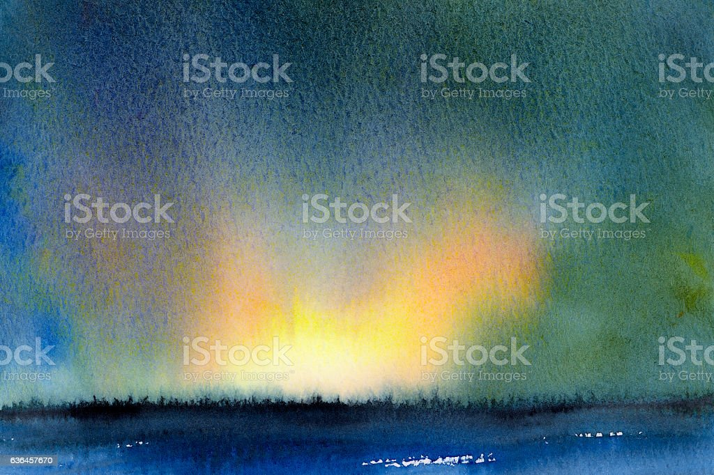 watercolor landscape sunrise over forest stock photo