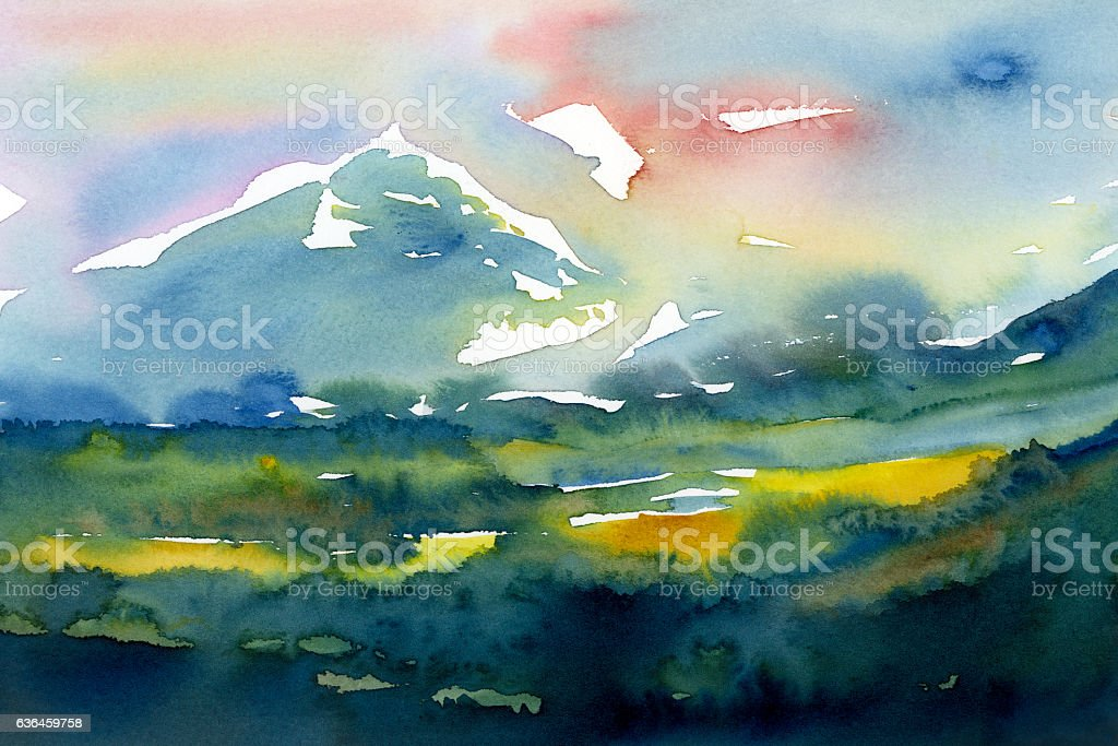 watercolor  landscape with mountains  painting stock photo