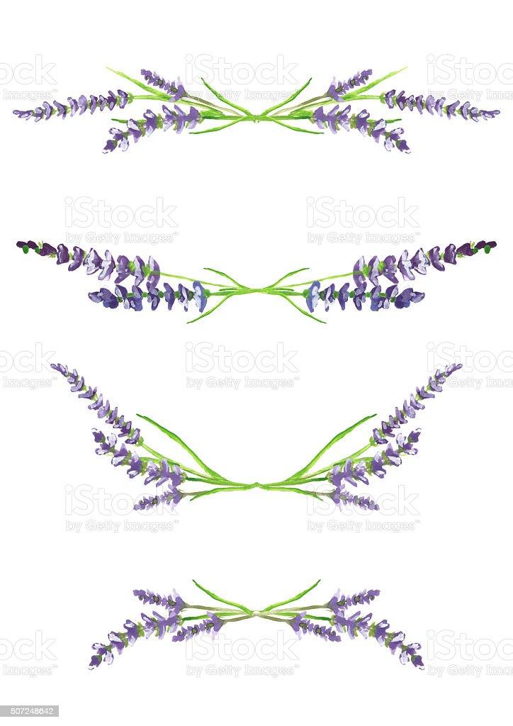 watercolor lavender branches, design elements, illustration stock photo