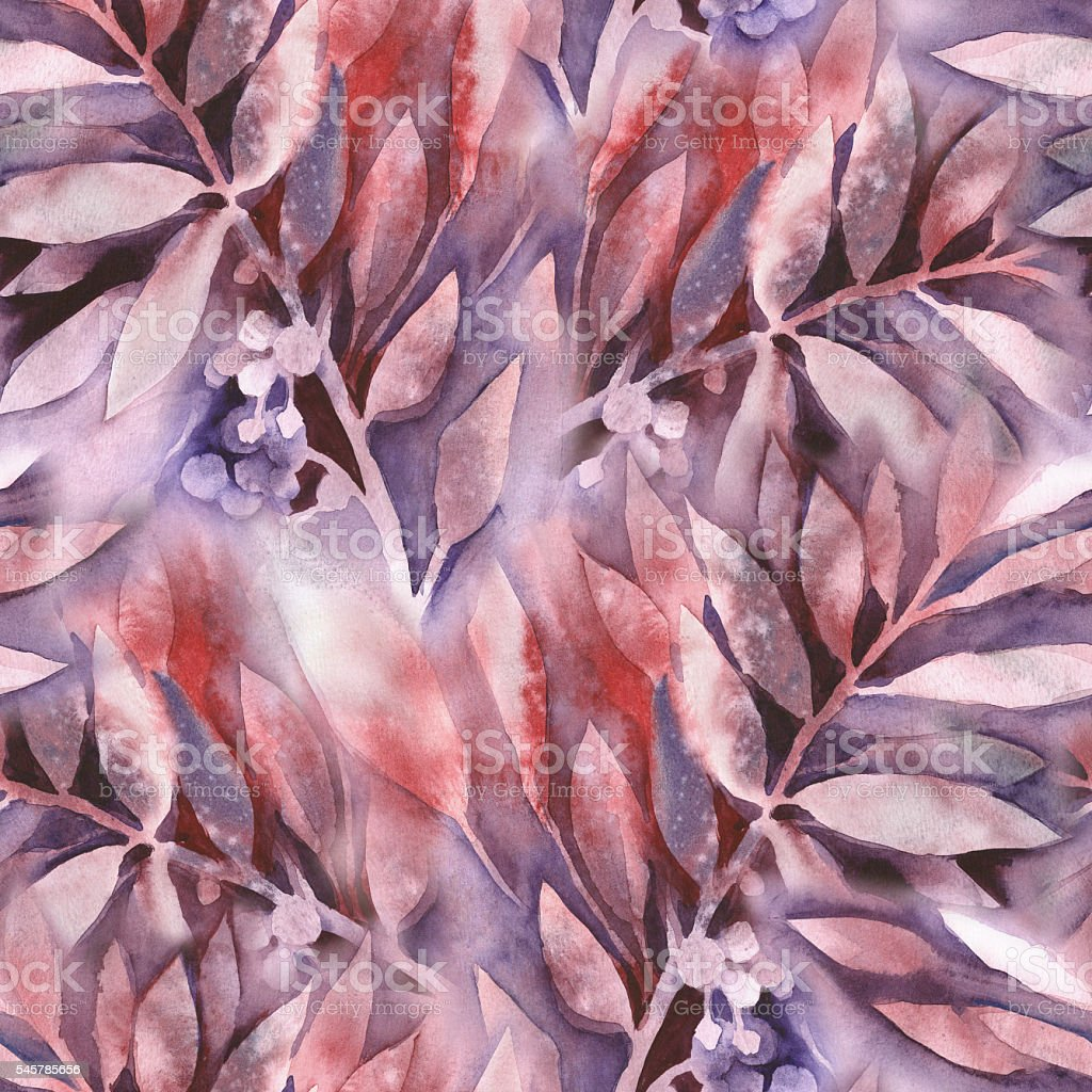 Watercolor Leaves Seamless Pattern stock photo