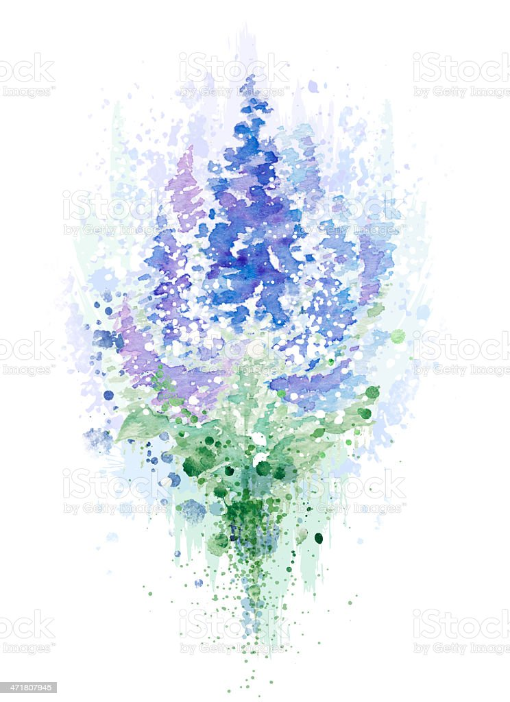 Watercolor lilac with grunge elements royalty-free stock photo