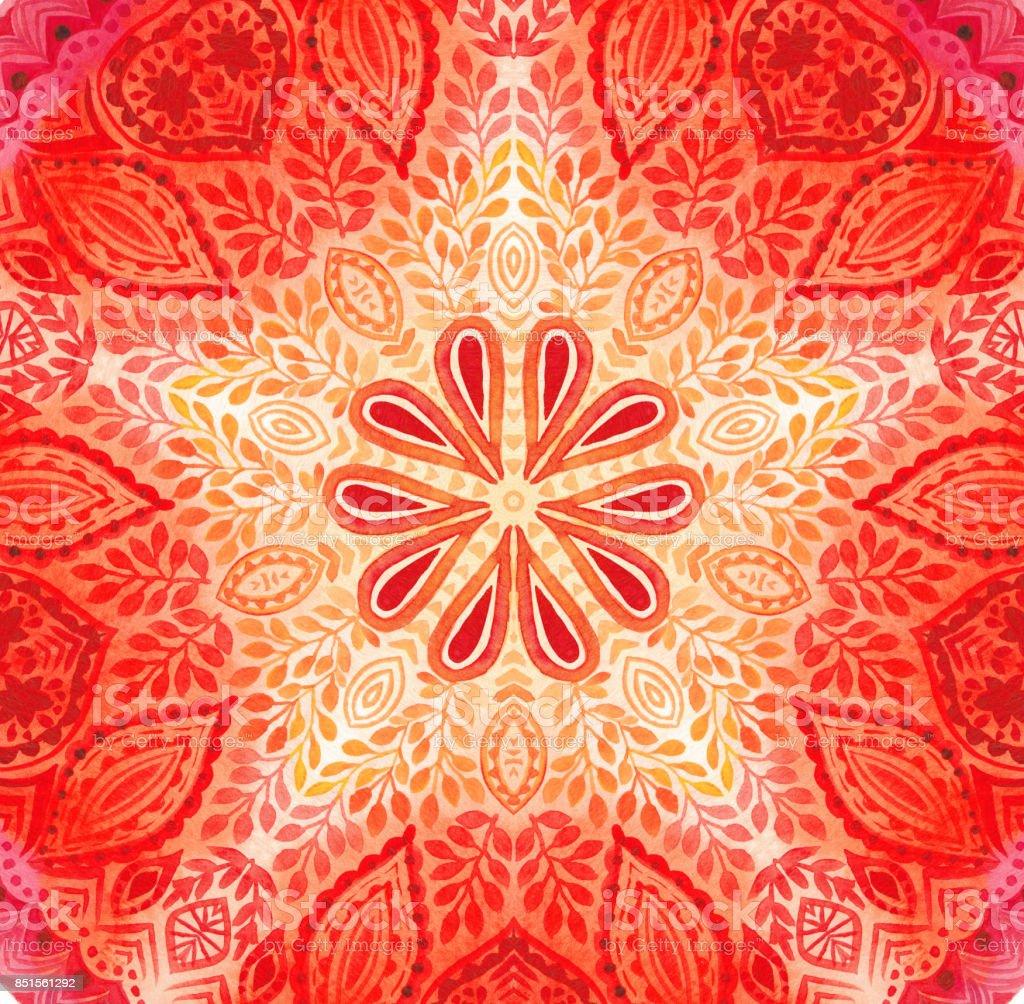 Watercolor mandala. Decor for your design, lace ornament. stock photo