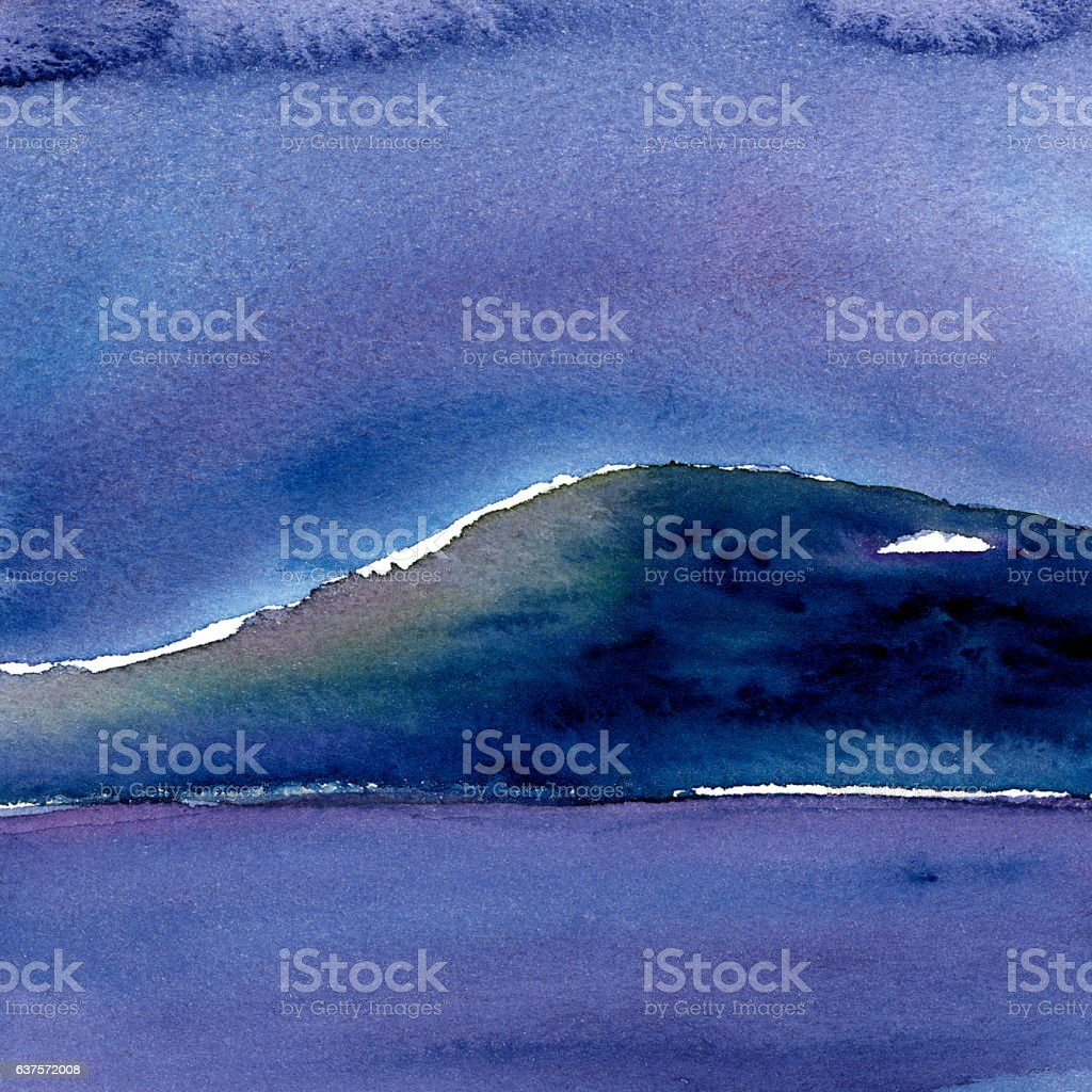 watercolor mountains in nature and squares formats stock photo