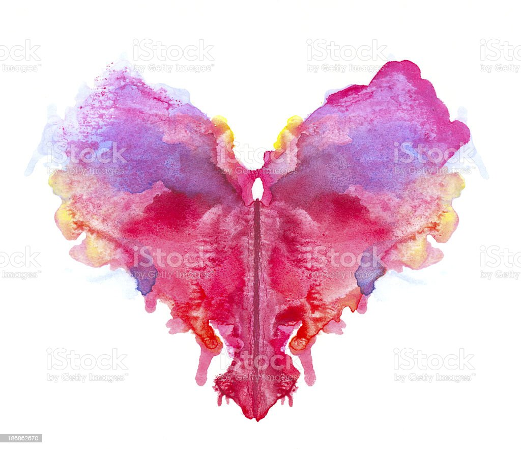 Watercolor multicolored heart. royalty-free stock photo