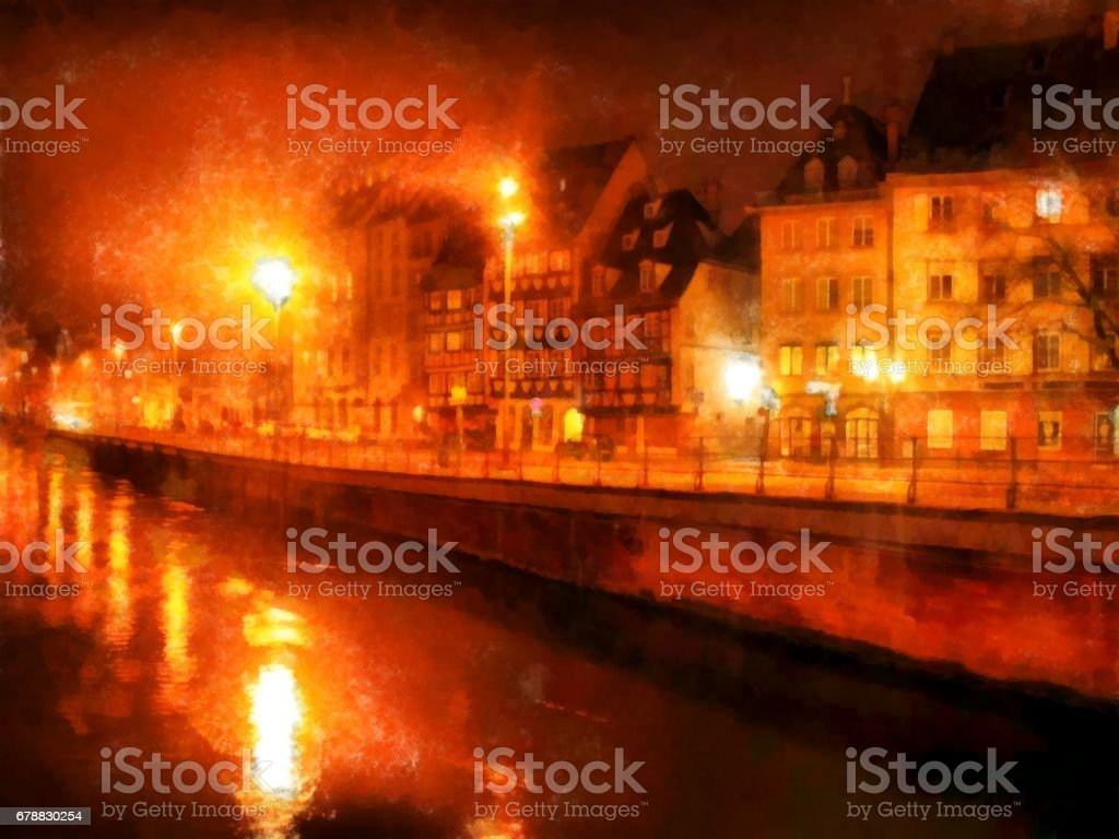 Watercolor night street of the city stock photo
