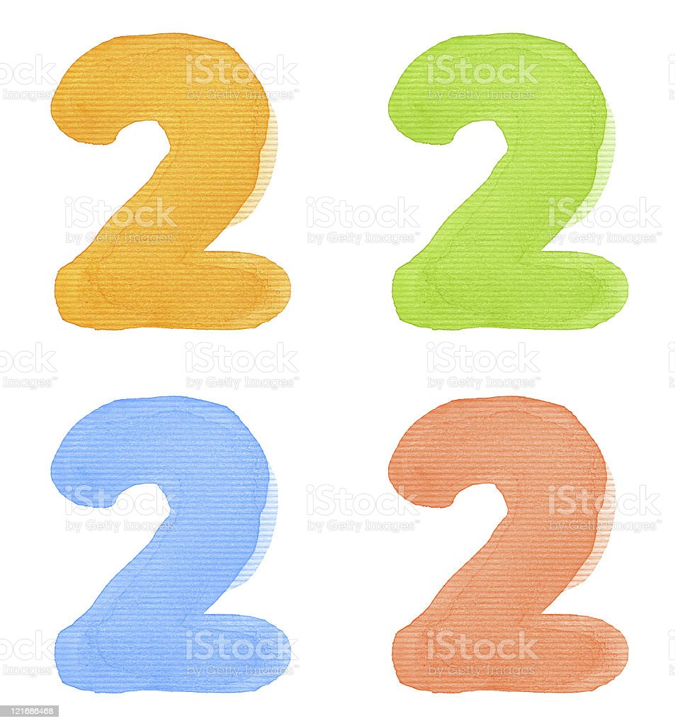 Watercolor number stock photo