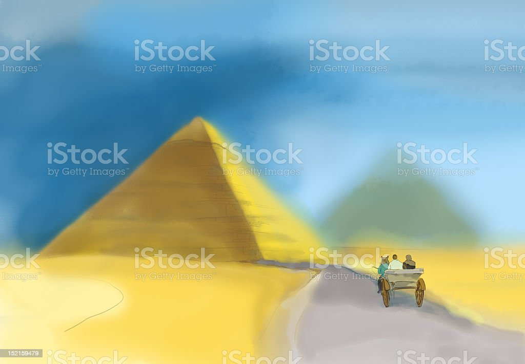 Watercolor of a pyramid in Giza stock photo