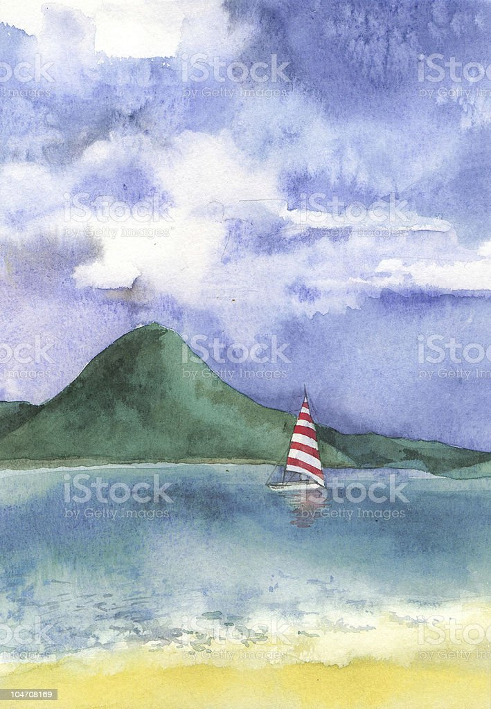 Watercolor of an idyllic beach in the Caribbean royalty-free stock photo