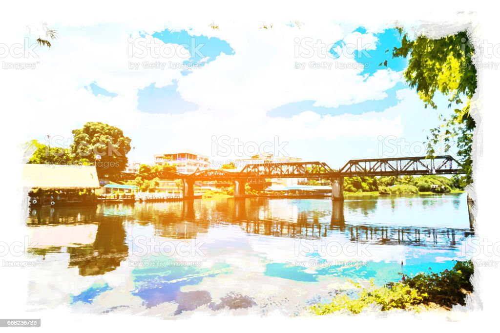 watercolor of Bridge on the River Kwai, kanchanaburi province , Thailand on watercolor paper, vibrant color filter effect,grunge photo style. stock photo