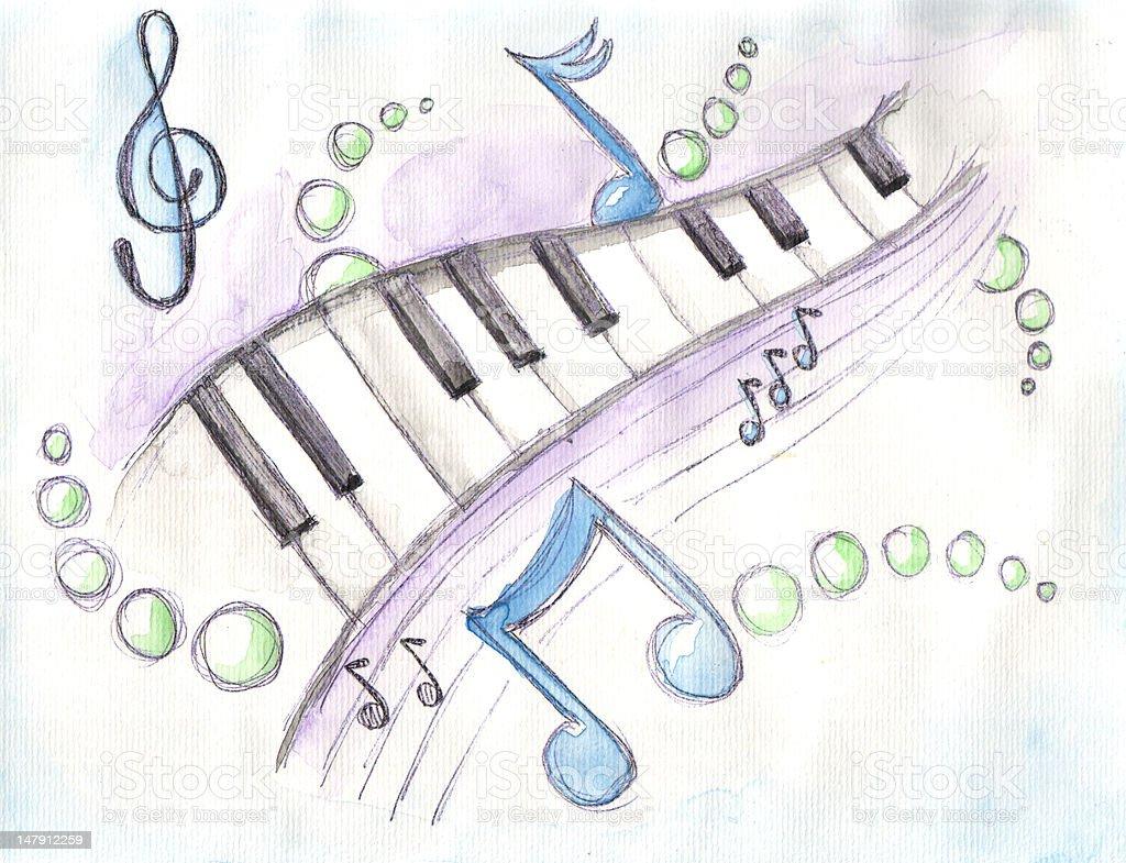 Watercolor of piano keys & notes stock photo