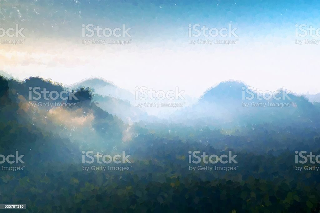 Watercolor paint effect. Spring blue morning in landscape. stock photo