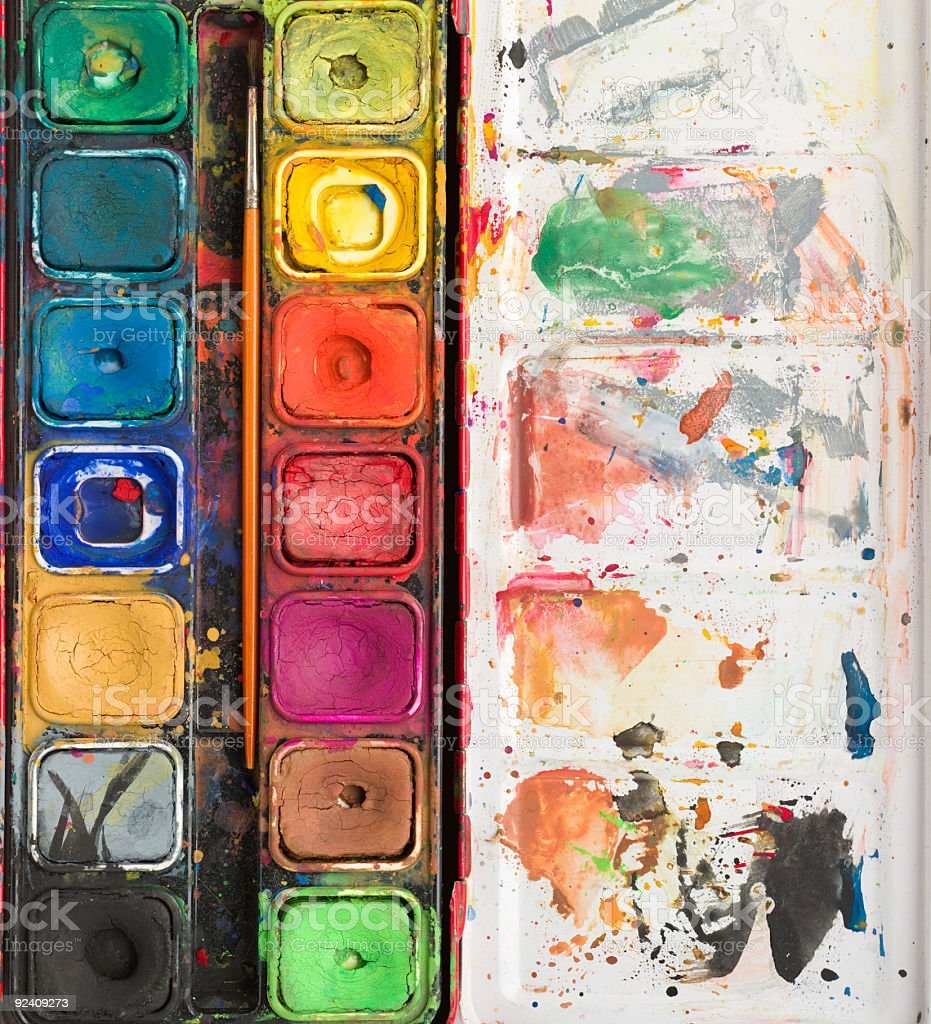 Watercolor paint palette background royalty-free stock photo