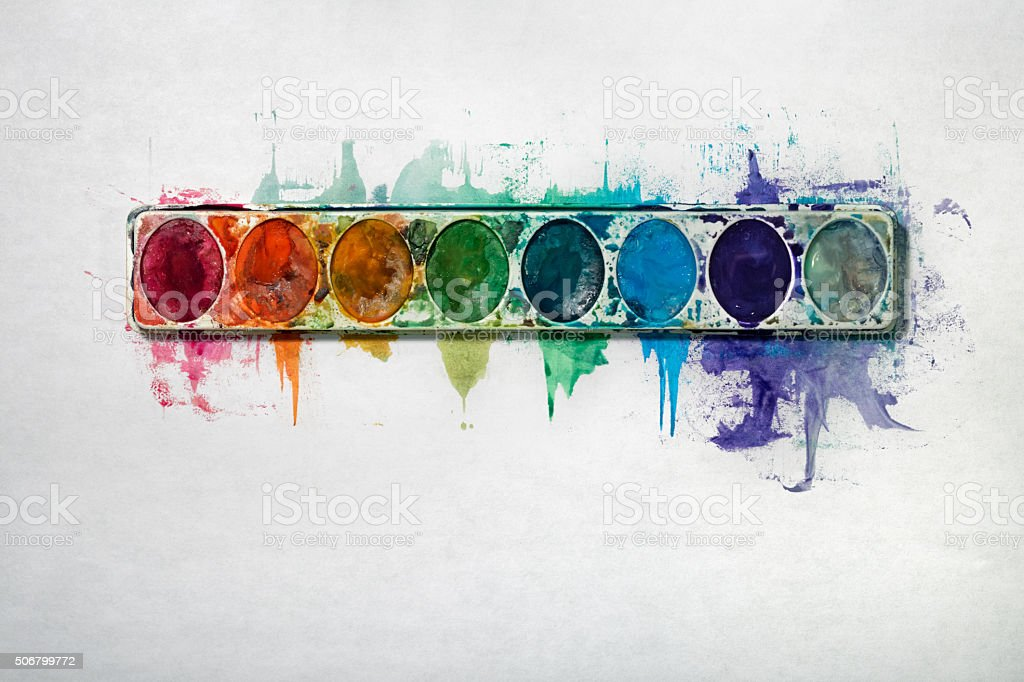 Watercolor Paint Tray on a White Background stock photo