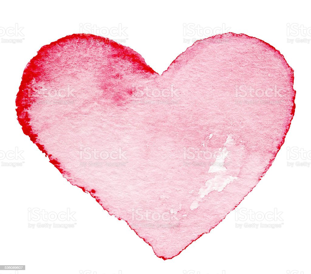Watercolor painted red heart symbol  for your design. stock photo