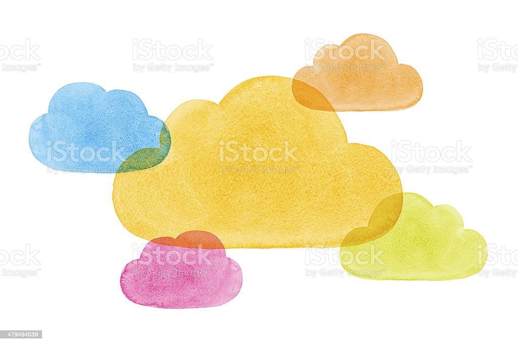 Watercolor Painted Social Networking Clouds Blue Yellow Green Pi royalty-free stock photo