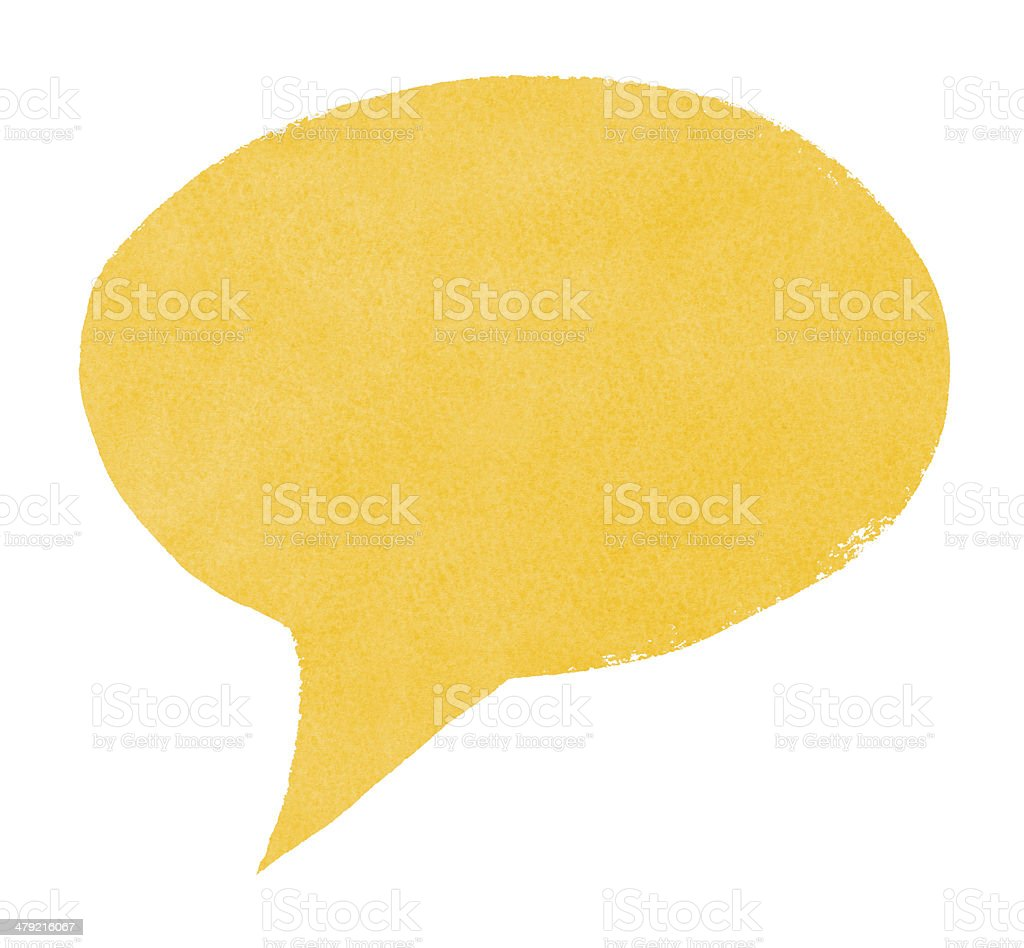 Watercolor Painted Yellow Speech Bubble stock photo