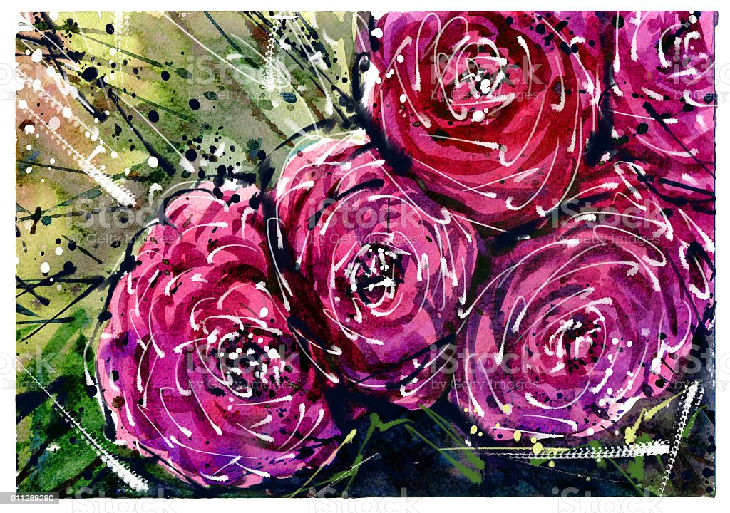 Watercolor painting Flower bouquets rose style Abstract Art. stock photo
