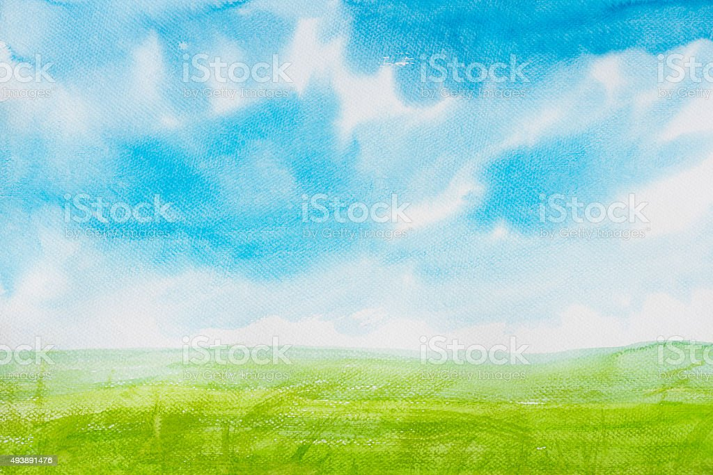 Watercolor painting landscapes stock photo