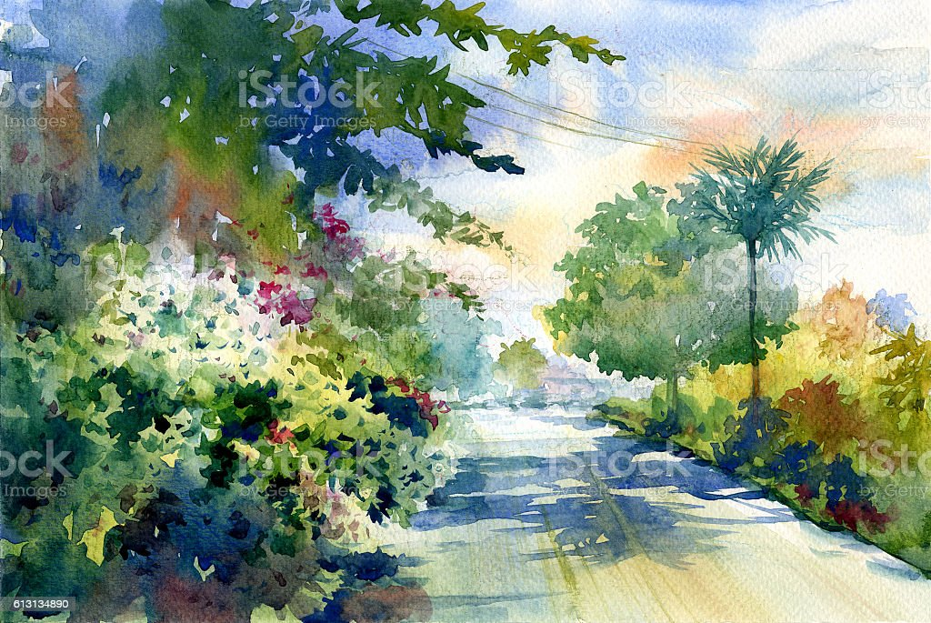 watercolor painting of autumn landscape with a beautiful road stock photo