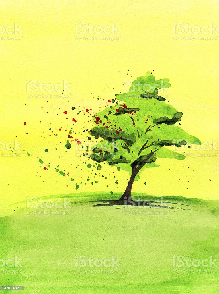 Watercolor painting of green tree royalty-free stock photo