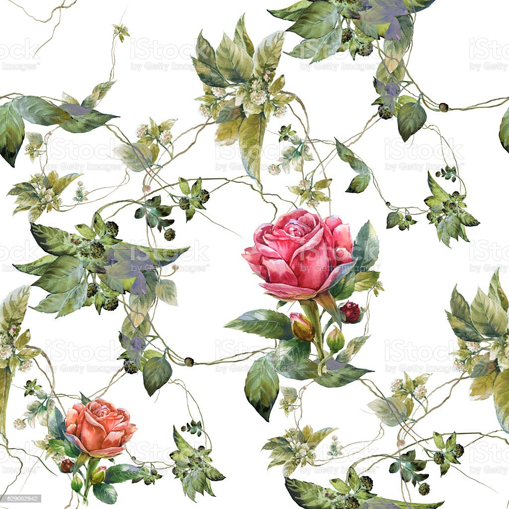 Watercolor painting of leaf and flowers, seamless pattern stock photo