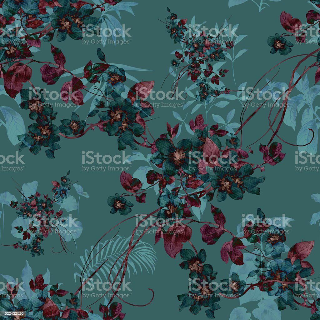 Watercolor painting of leaf and flowers, seamless stock photo