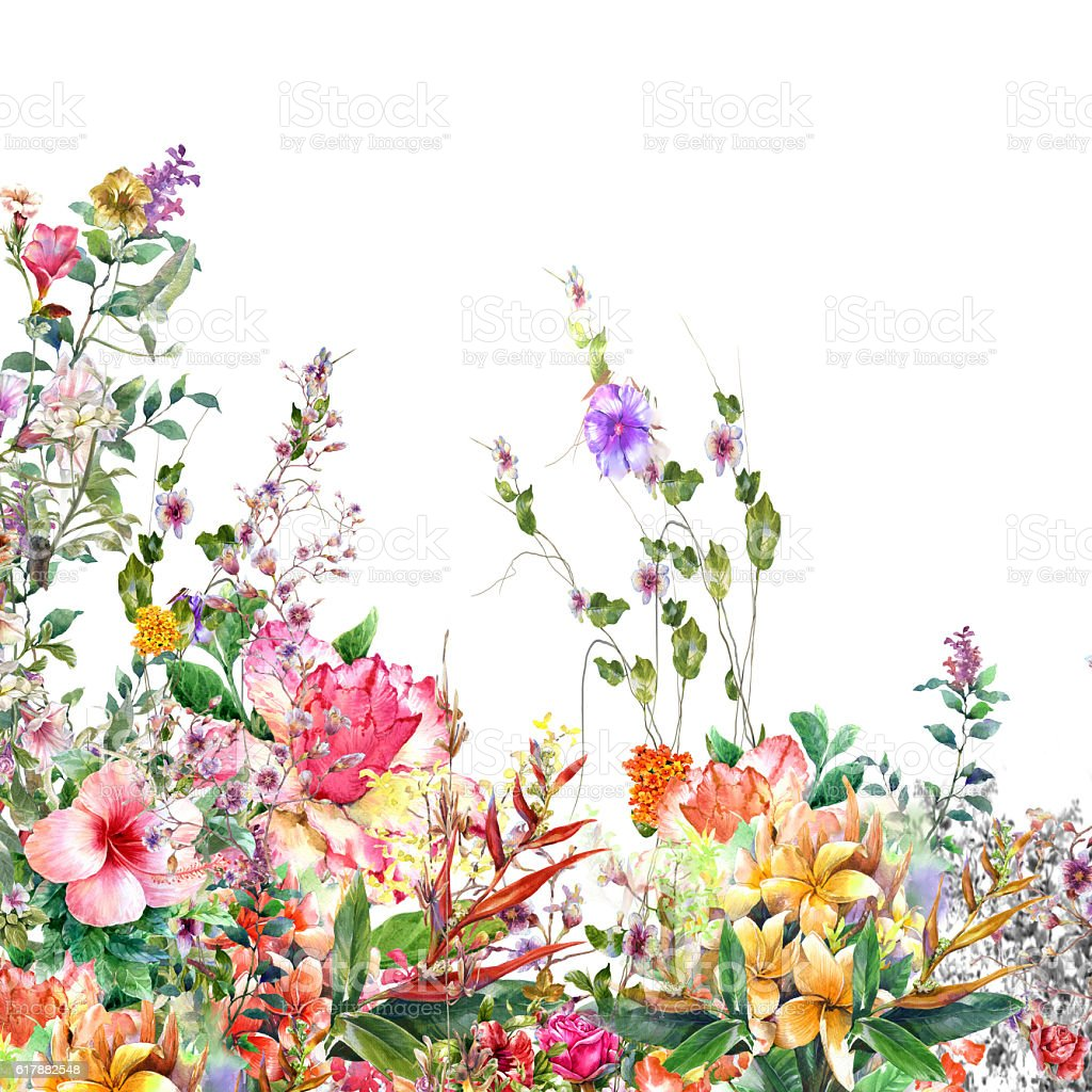 watercolor painting of leaves and flower stock photo