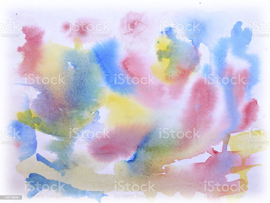 Watercolor painting of the primary colors stock photo